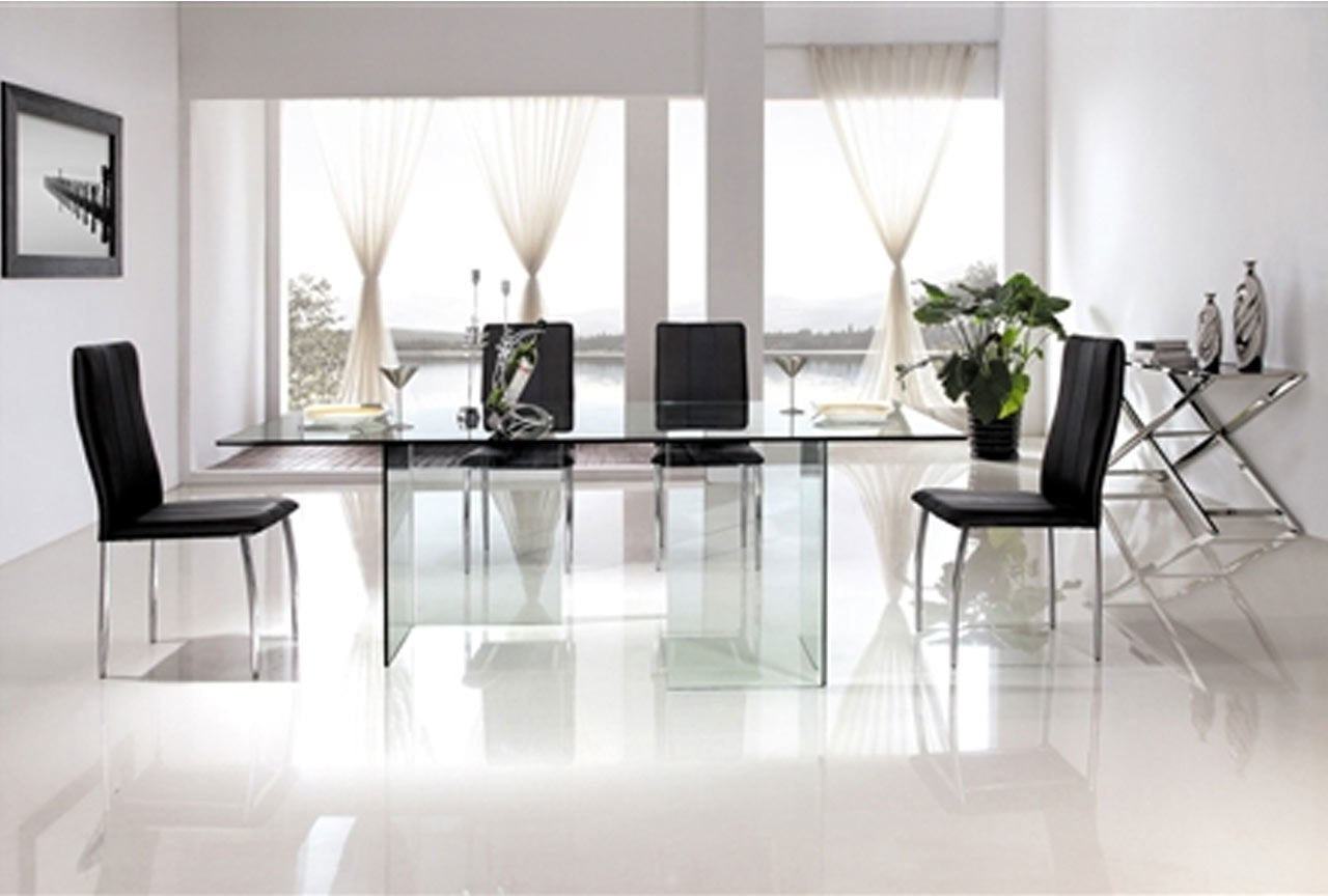 Astounding Miami Clear Glass Dining Table Interior Design Ideas Philsoteloinfo