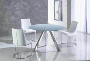 MONDRIAN Stainless Steel Base / Gray Finish Glass Dining Table