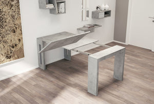 ELASTO Extendable Gray Concrete Console / Dining Table