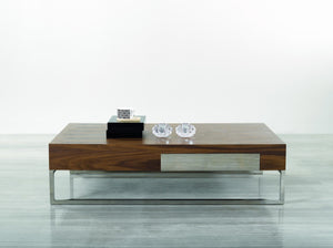 107 A MODERN COFFEE TABLE/ WALNUT WOOD AND CHROME