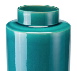 Stoneware Bottle Lg Teal And Gray