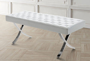 LOFT White Eco-Leather Bench