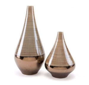 Dual Short Vase Brown & Pearl