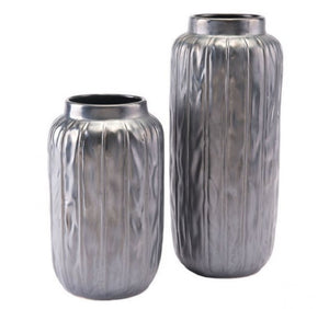 Antique Lg Vase Metallic Gray
