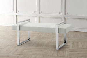ALBA White Eco-Leather Bench