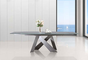ZARA Extendable Titanium Base / Light Gray Glass Dining Table