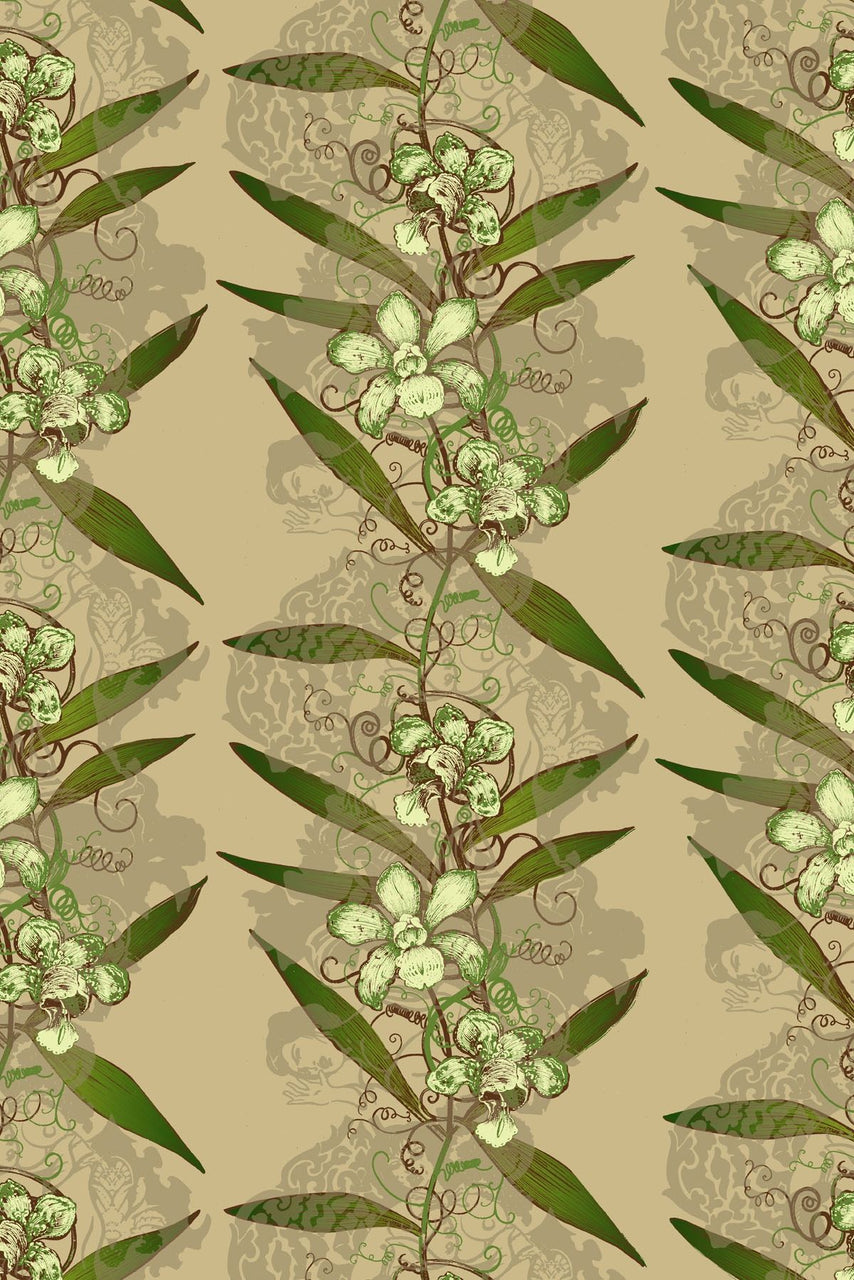 oriental orchid  hand printed wallpaper, timorous beasties, wallpaper, - adorn.house