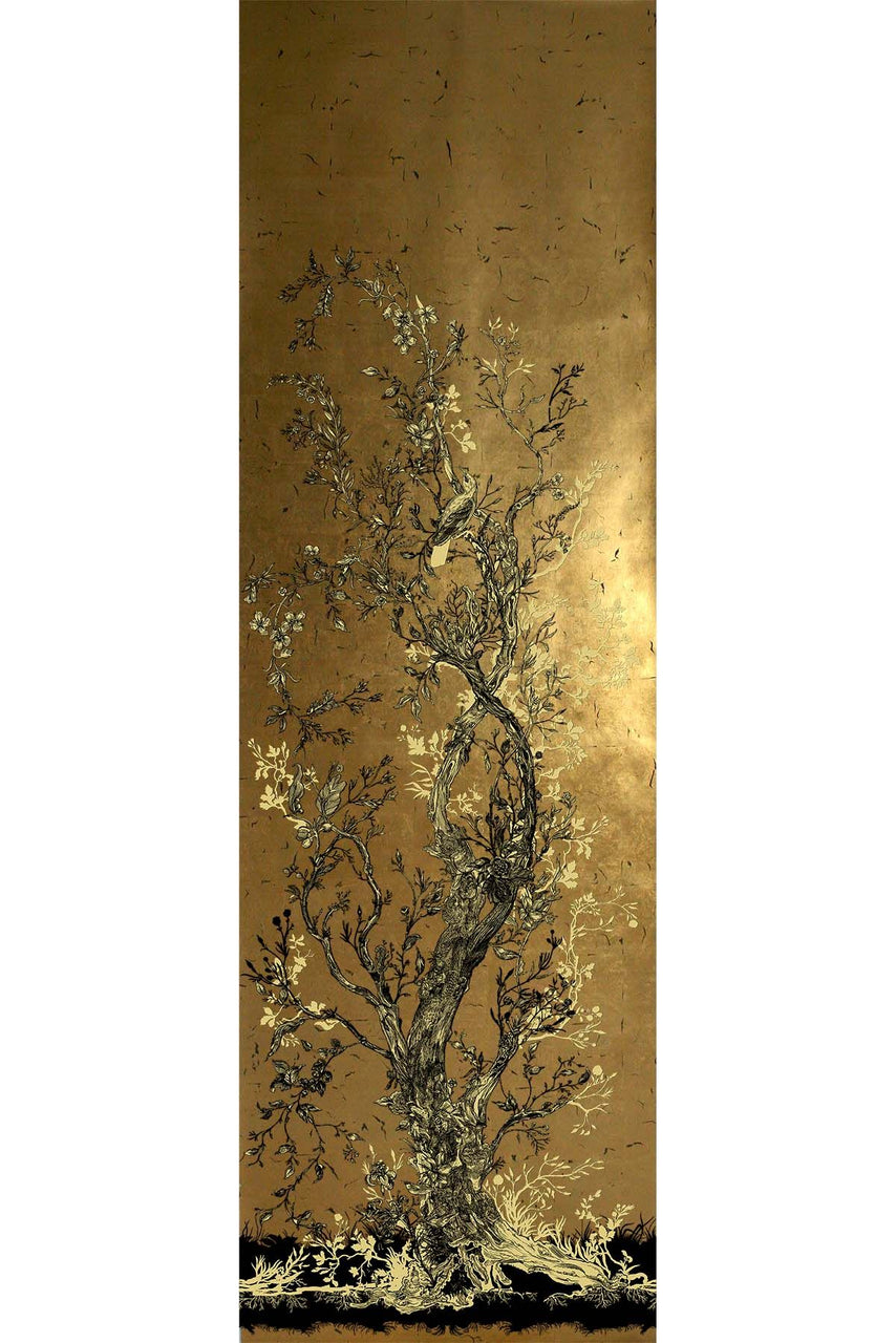 golden oriole wallpaper panels, timorous beasties, wallpaper, - adorn.house