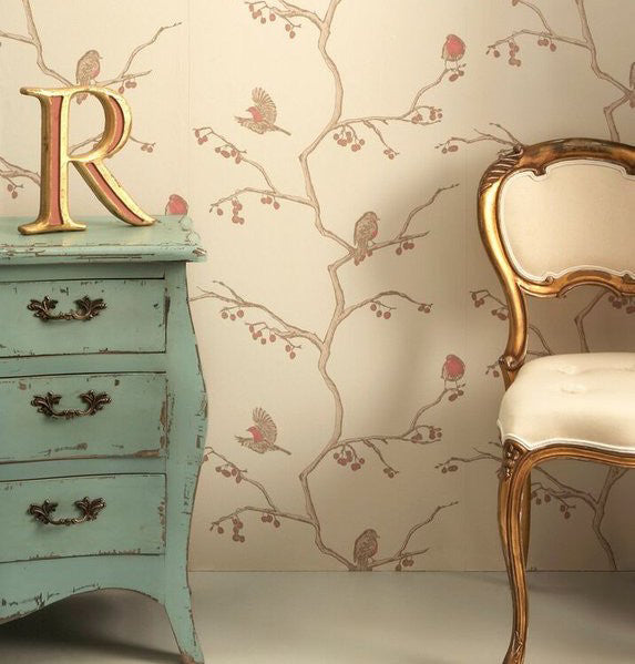 english robin, Barneby Gates, wallpaper, - adorn.house