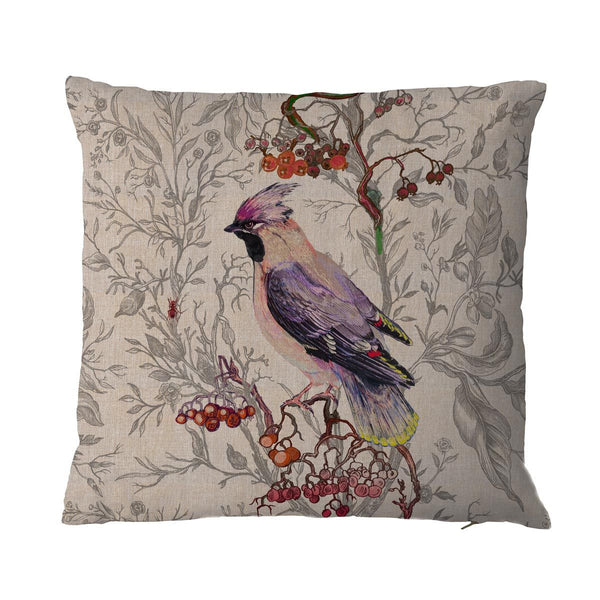 waxwing bird | cushion, timorous beasties, accessories | pillows and cushions, - adorn.house