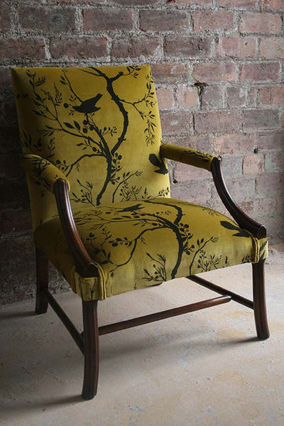 bird branch stripe velvet | fabric - adorn.house