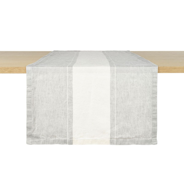 atelier stripe tablerunner, libeco, table linen, - adorn.house