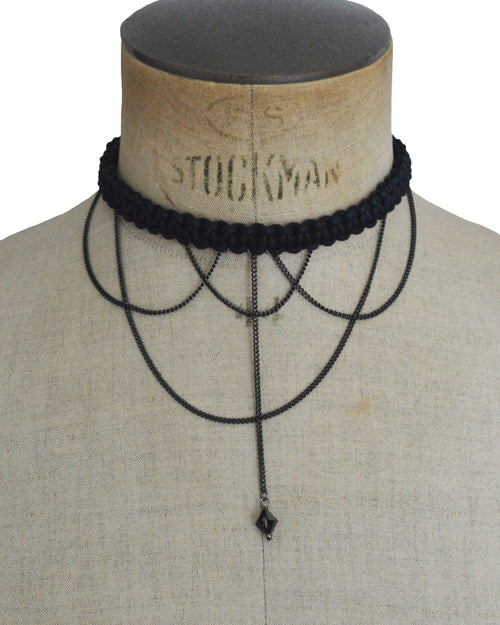 CLEOPATRA Black macrame necklace, Elena Designs, Victoria BC