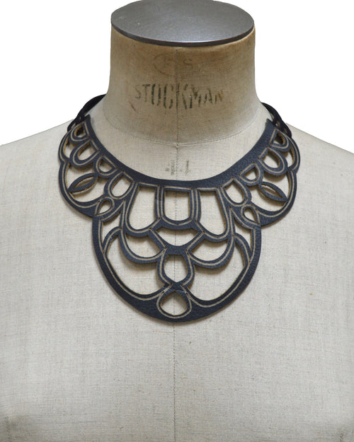 CORDELIA Black leather necklace, Elena Designs, Victoria BC
