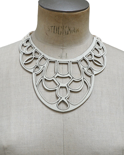 CORDELIA Ivory leather necklace, Elena Designs, Victoria BC