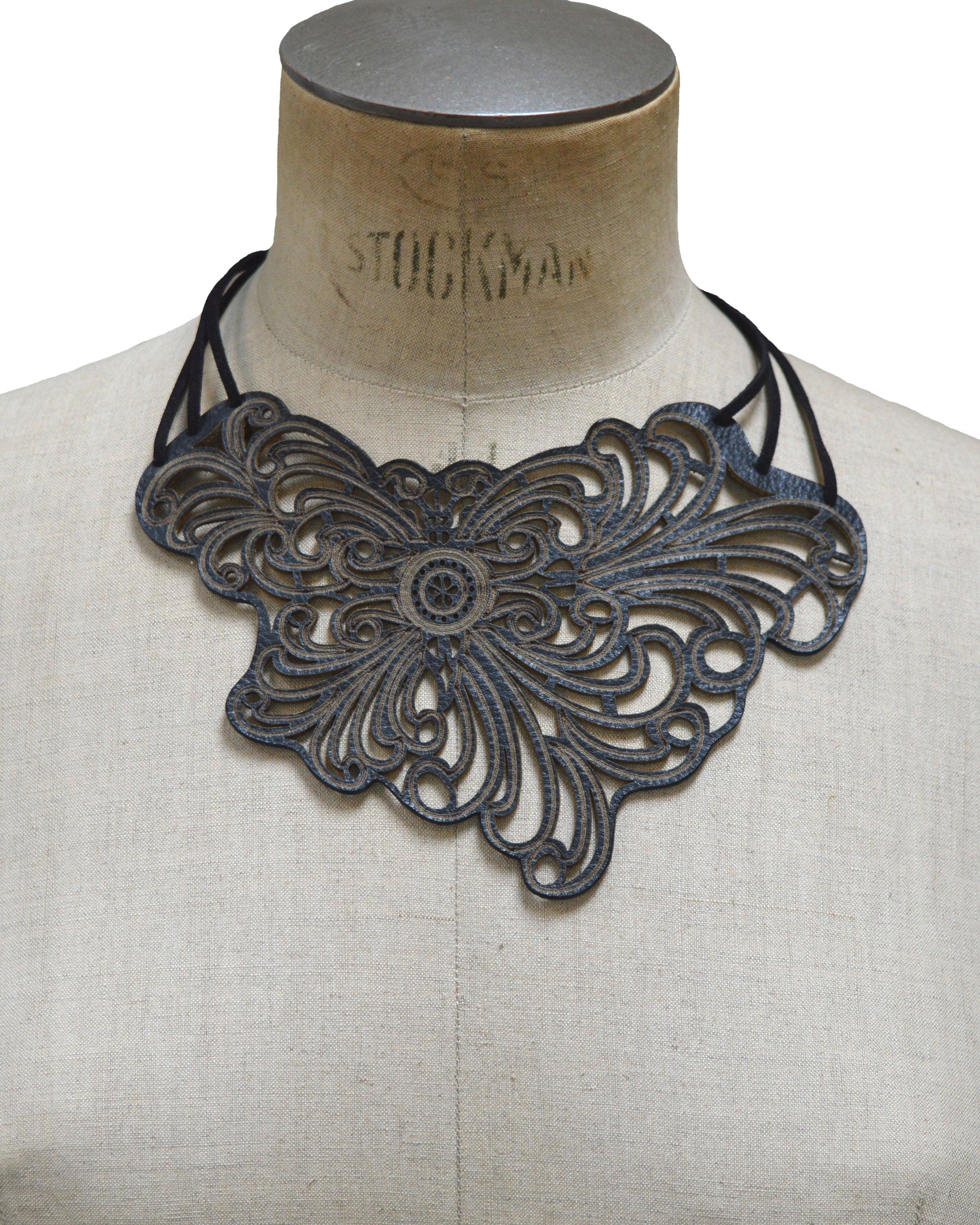 ELENA Black leather necklace, Elena Designs, Victoria BC