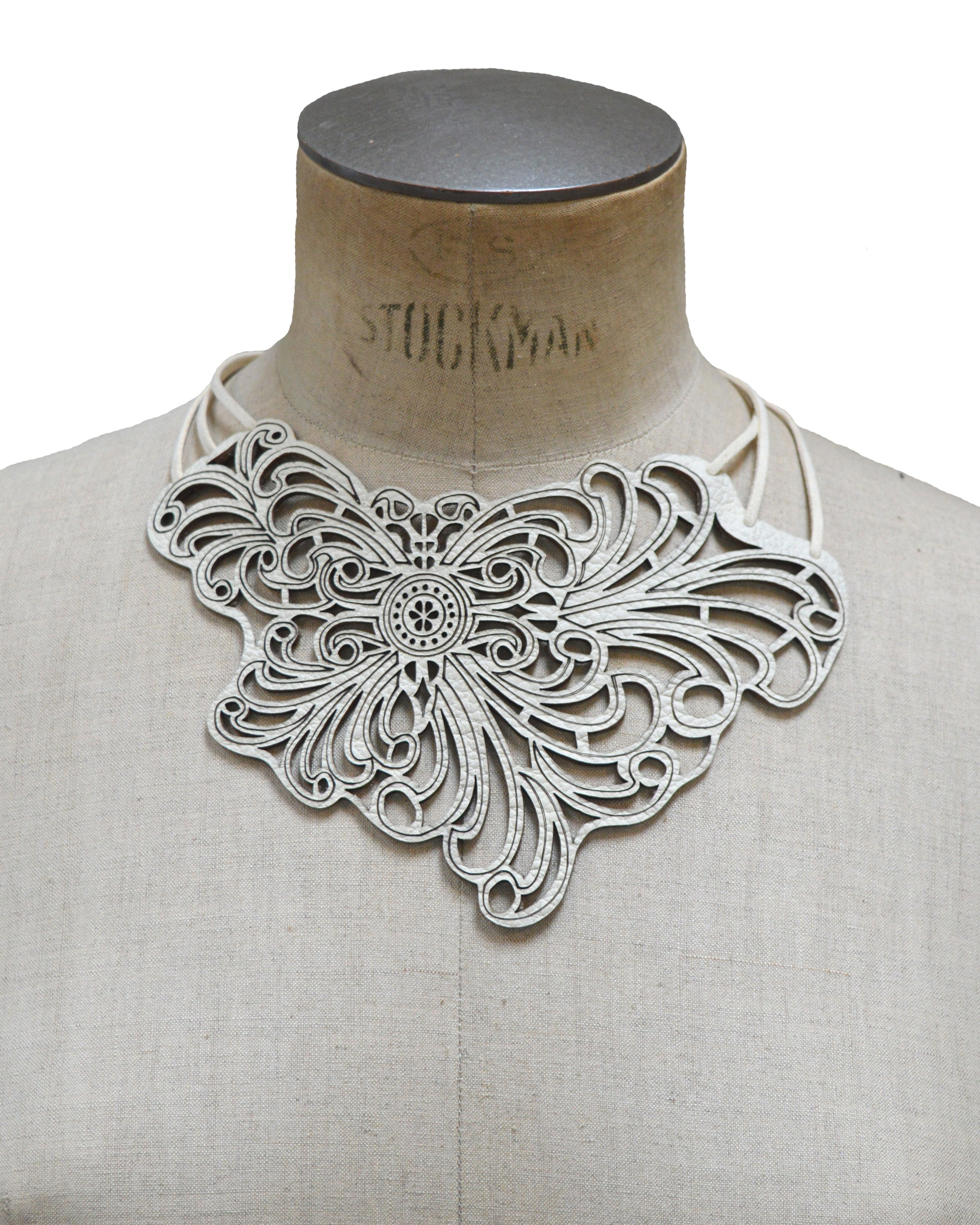 ELENA Ivory leather necklace, Elena Designs, Victoria BC
