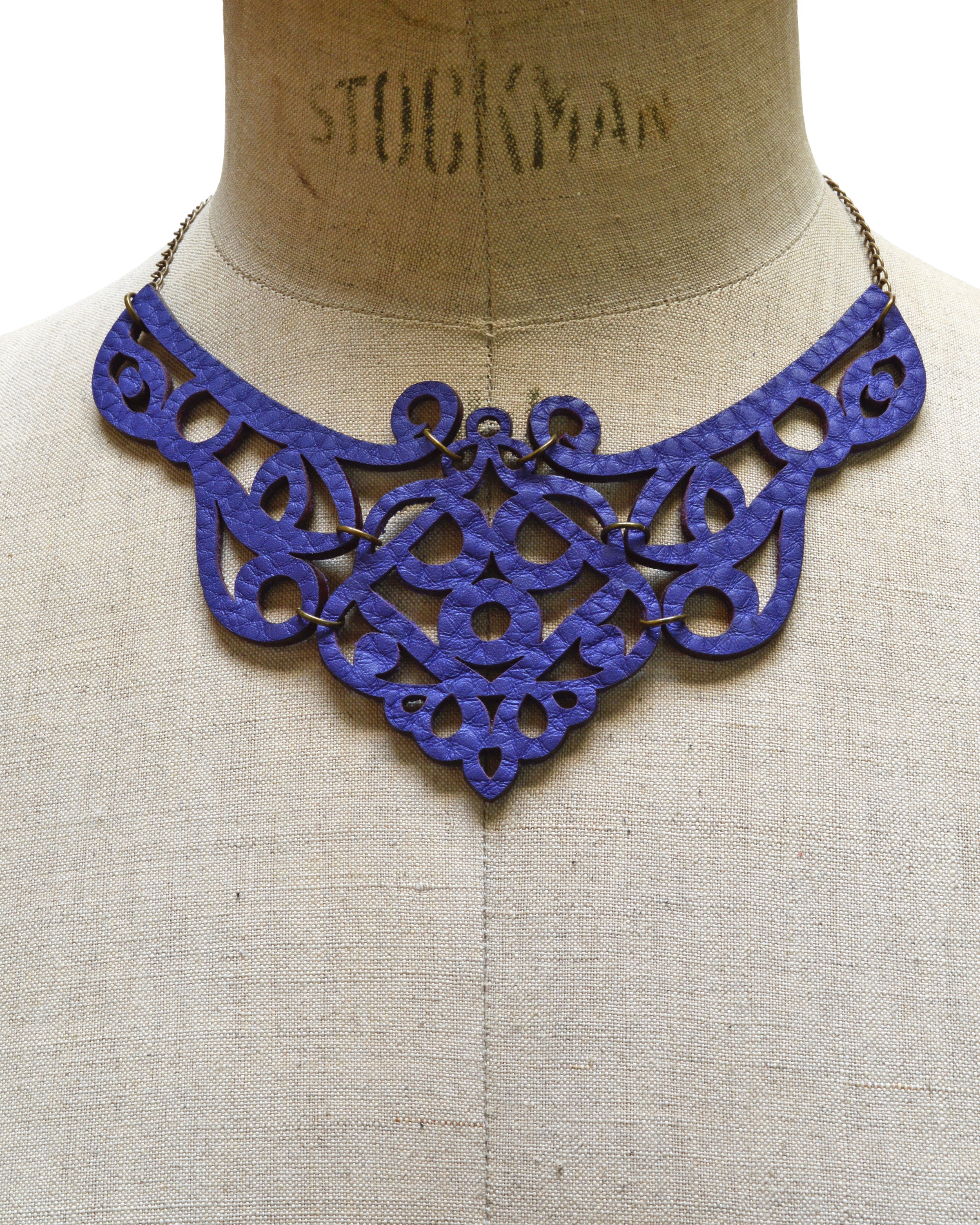 FREYA Purple leather necklace, Elena Designs, Victoria BC