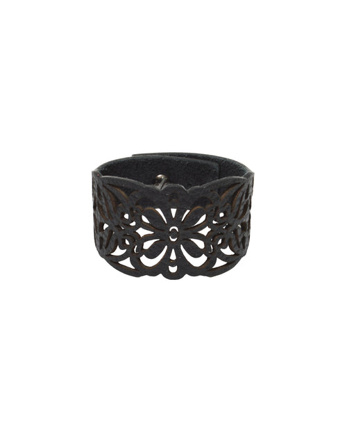 GAIA Black leather bracelet, Elena Designs, Victoria BC