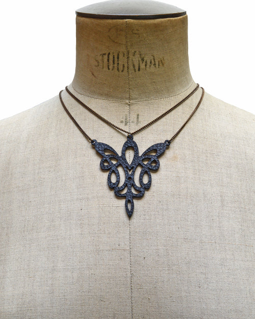METIS Black leather necklace, Elena Designs, Victoria BC