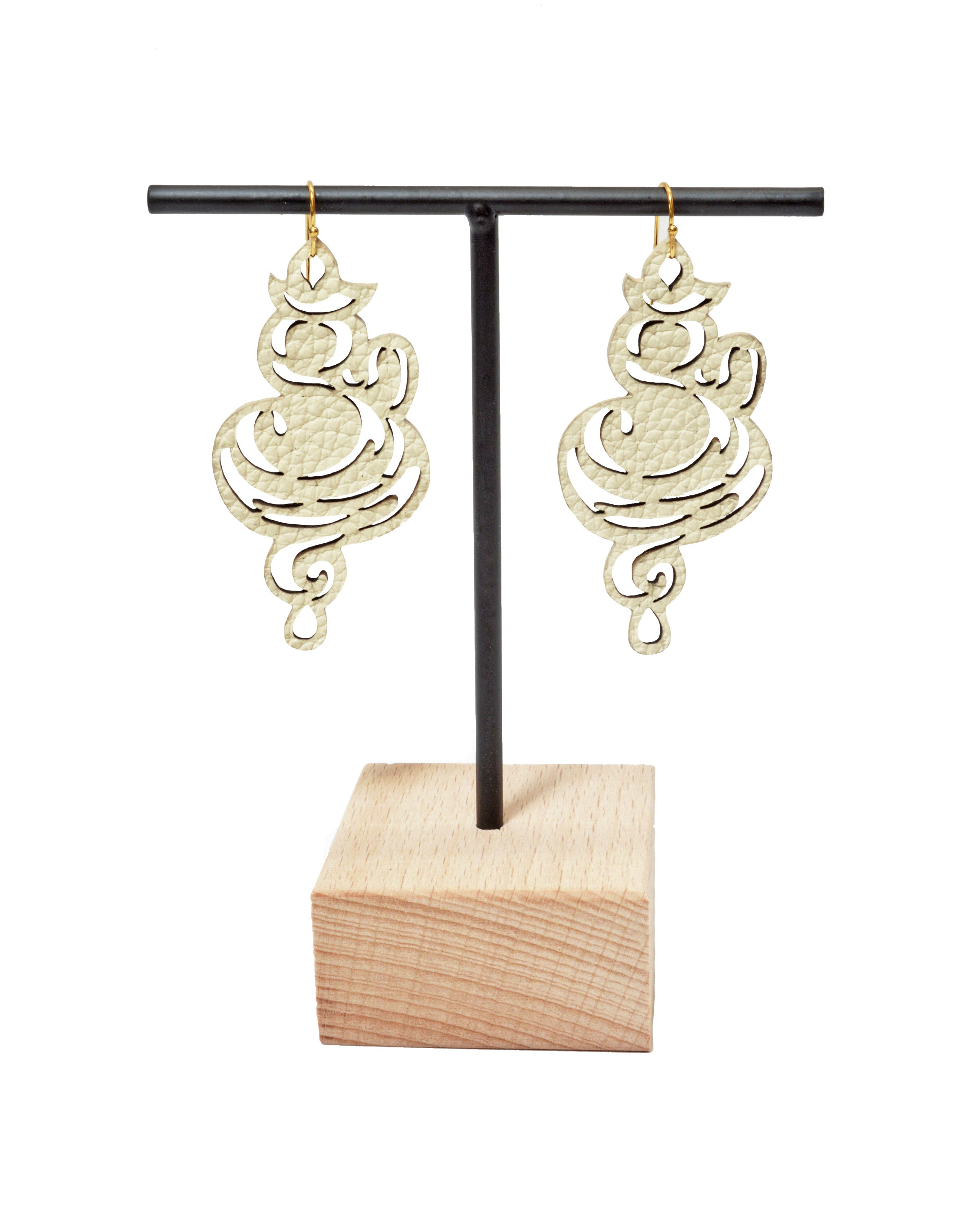 NAMASTE Ivory leather earrings, Elena Designs, Victoria BC
