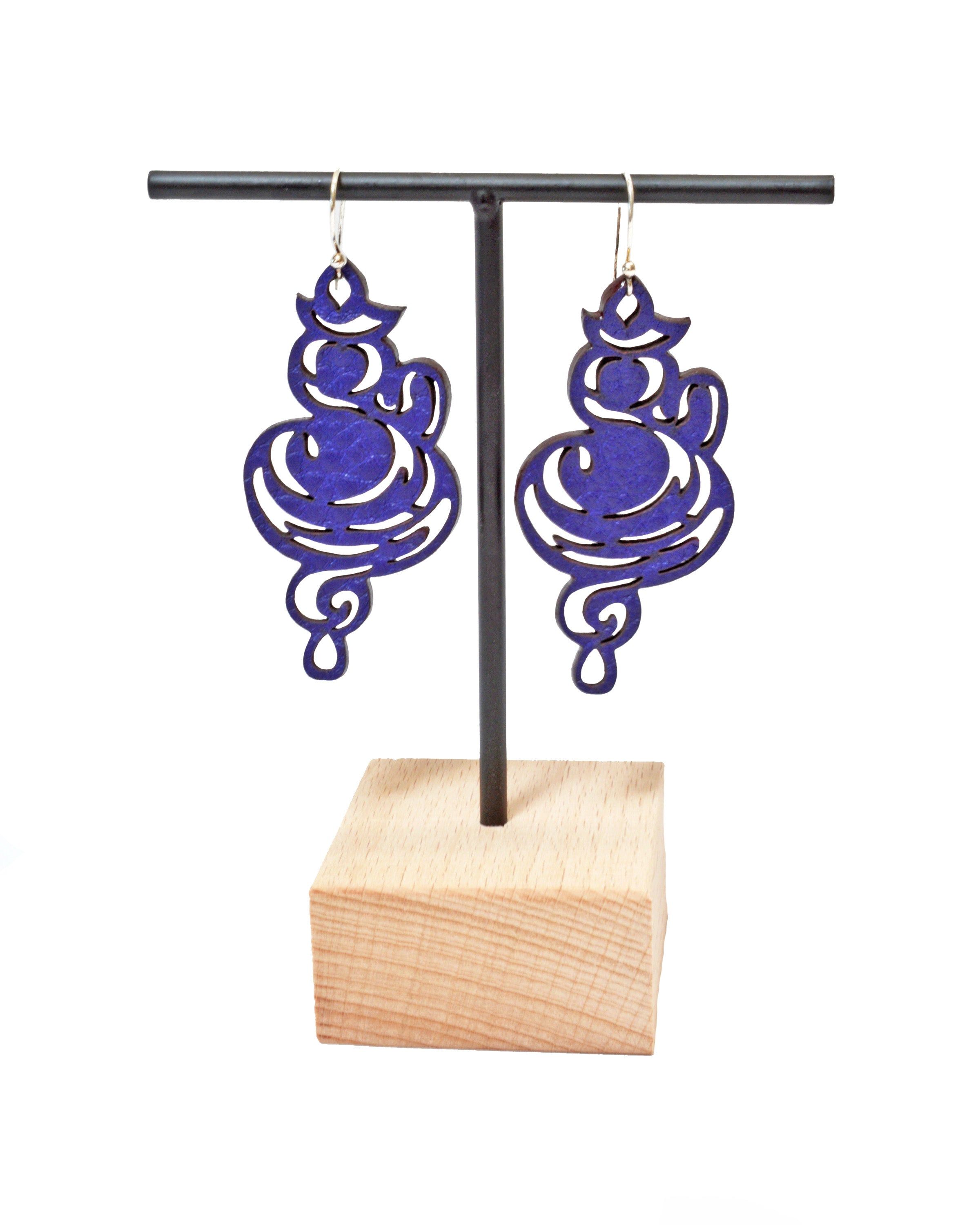 NAMASTE Purple leather earrings, Elena Designs, Victoria BC