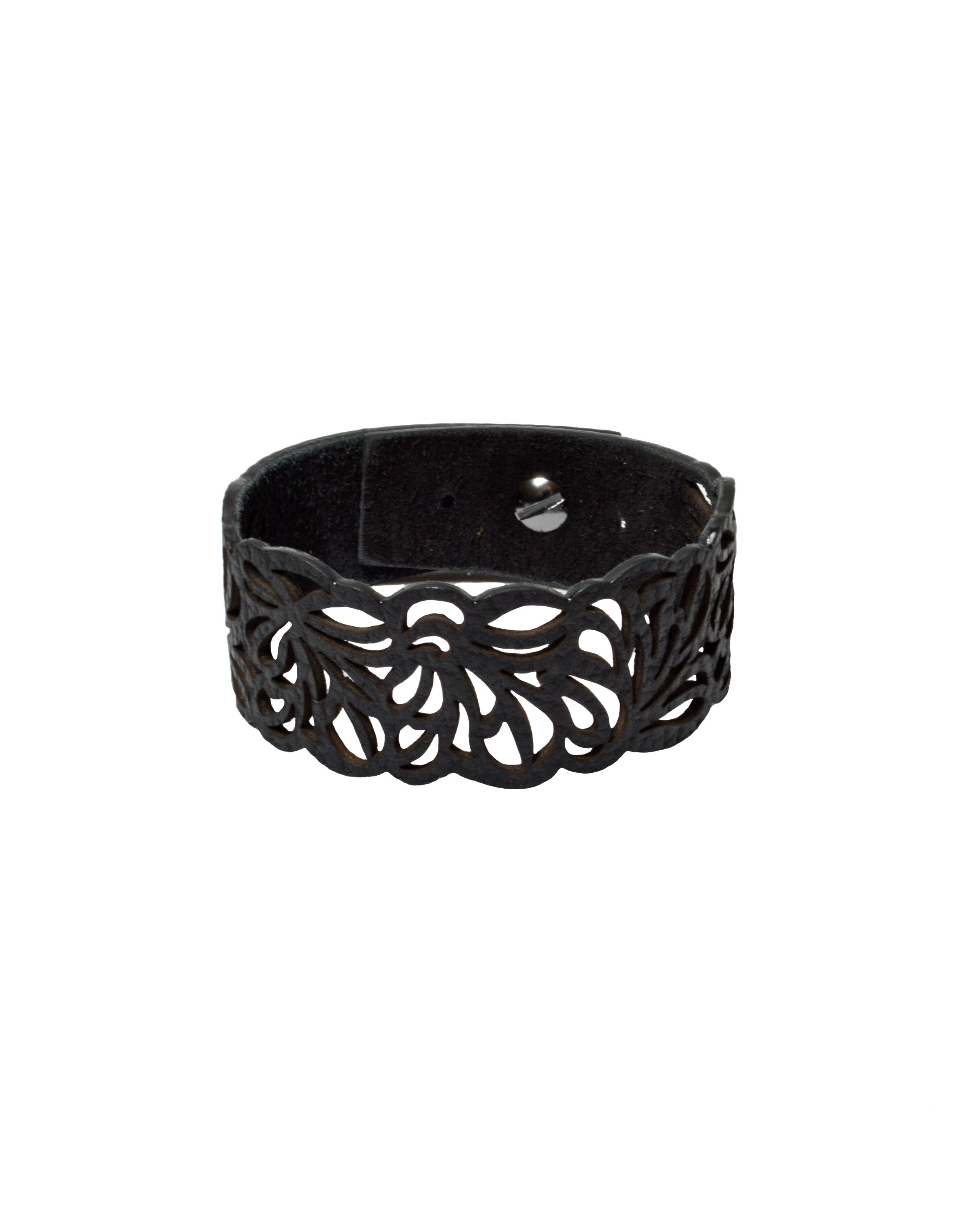 TYCHE Black leather bracelet, Elena Designs, Victoria BC
