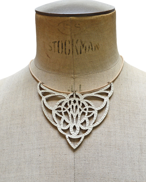 URANIA Ivory leather necklace, Elena Designs, Victoria BC