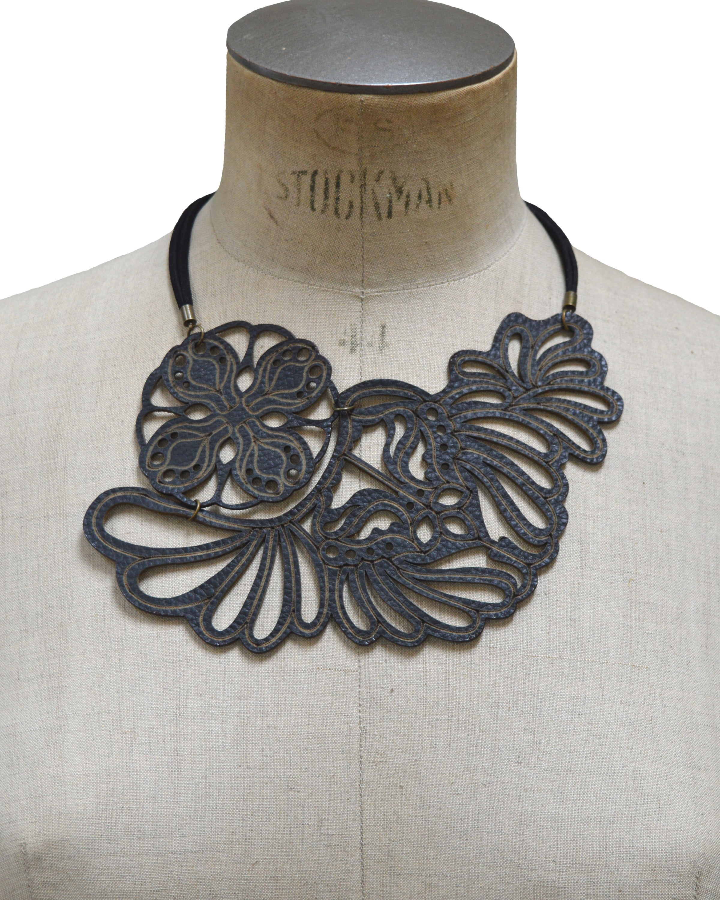 VENUS Black leather necklace, Elena Designs, Victoria BC