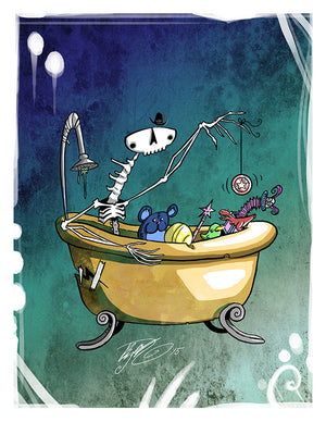 Bathtub Skeleton Art Print (Autographed)