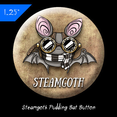 "1.25"" Steamgoth Pudding Bat Button"