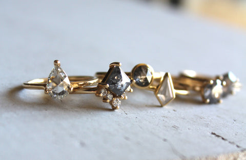 several diamond rings together
