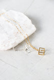 Tiny Cube and Crystal Necklace