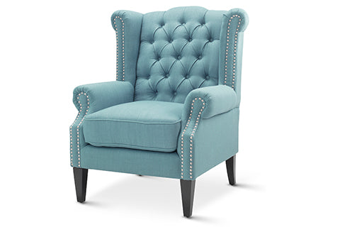 Teal Royale Wingback Arm Chair