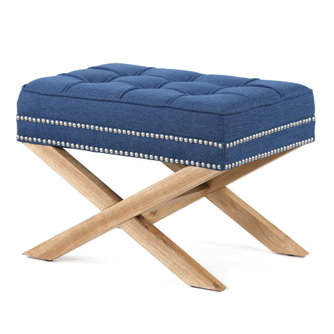 Brooke Ottoman Foot Stool Oak Legs Navy - Black Mango