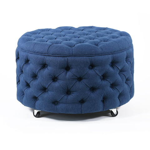 Emma Storage Ottoman Large 75cm Navy - Black Mango