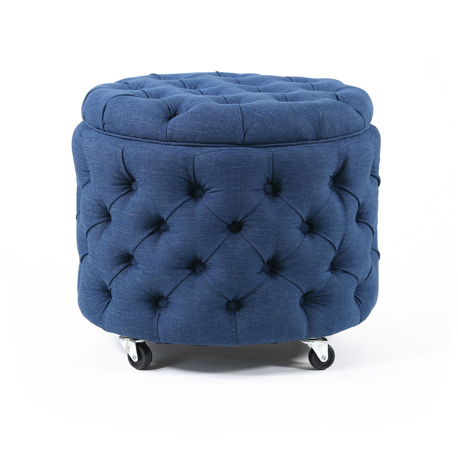 Emma Storage Ottoman Small Navy - Black Mango