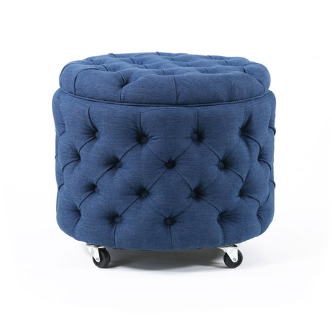 Emma Storage Ottoman Small Navy