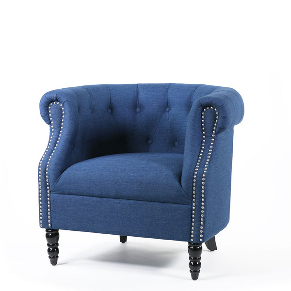 Esther Tub Chair Navy - Black Mango