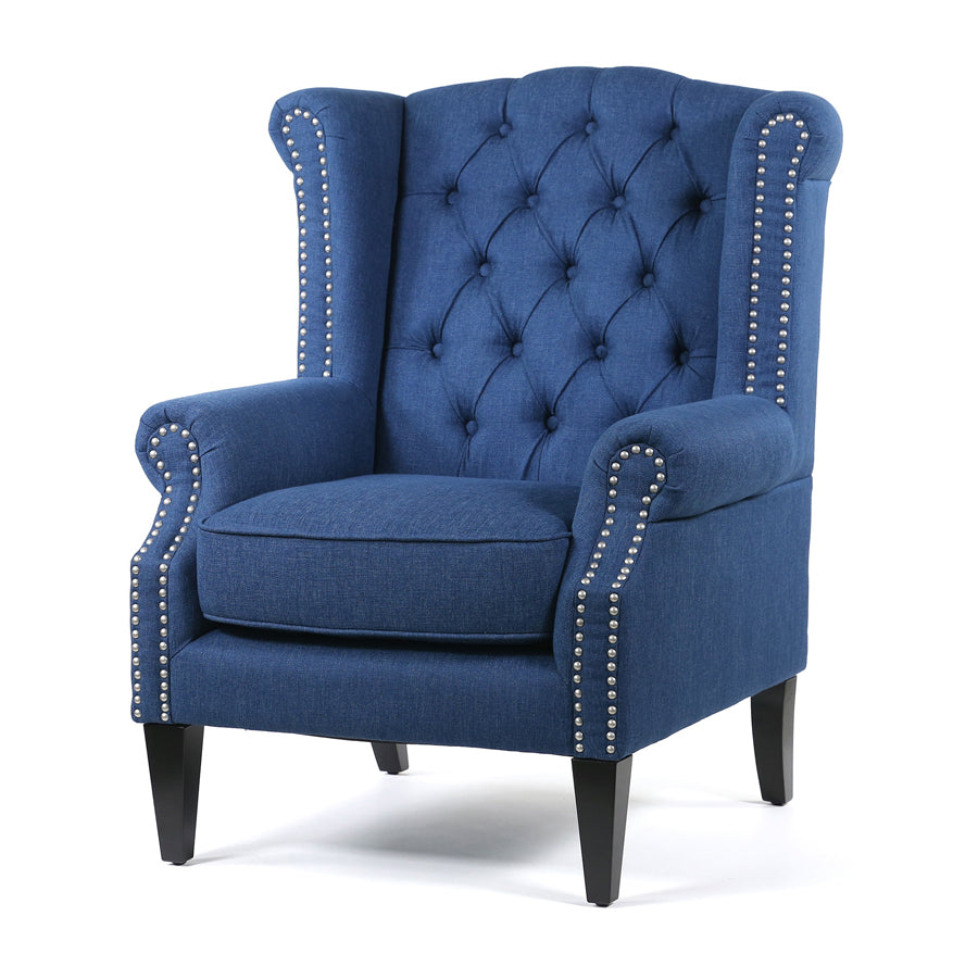 Royale Wingback Arm Chair Navy - Black Mango