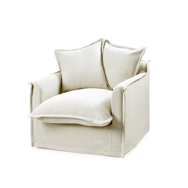 The Cloud Single Seater with Stone Slipcover