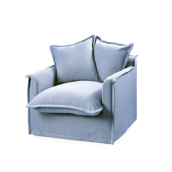 The Cloud Single Seater with Denim Blue Slipcover