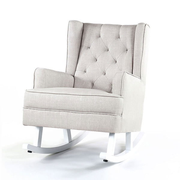Isla Wingback Rocking Chair Taupe White Legs