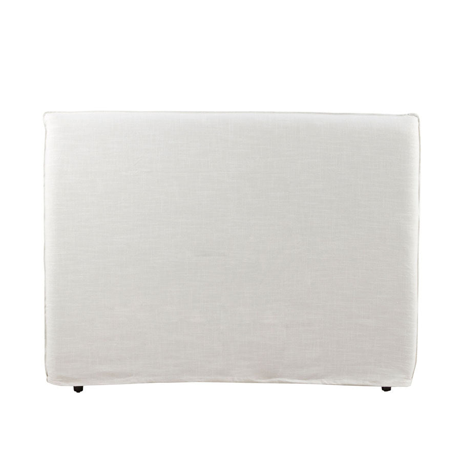 Bedhead with Overlocked Slipcover Queen Size Linen White with White Stitching - Black Mango