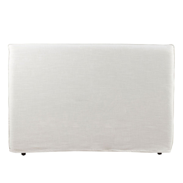 Bedhead with Overlocked Slipcover King Size Linen White with White Stitching - Black Mango