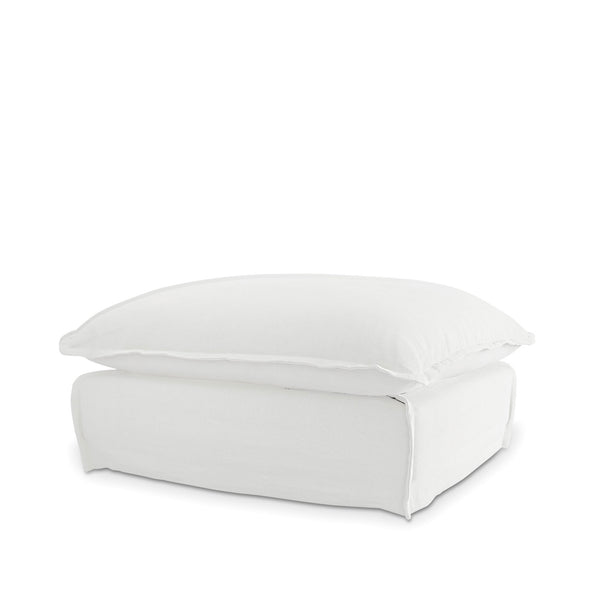 The Cloud Ottoman with White Slipcover