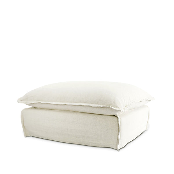 The Cloud Ottoman with Stone Slipcover