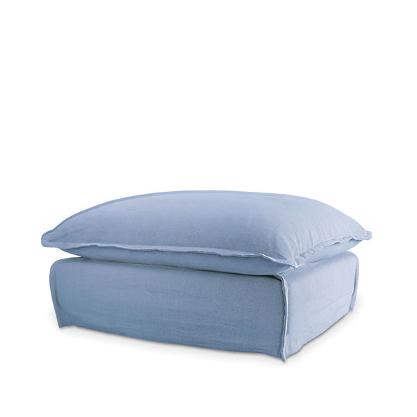 The Cloud Ottoman with Denim Blue Slipcover