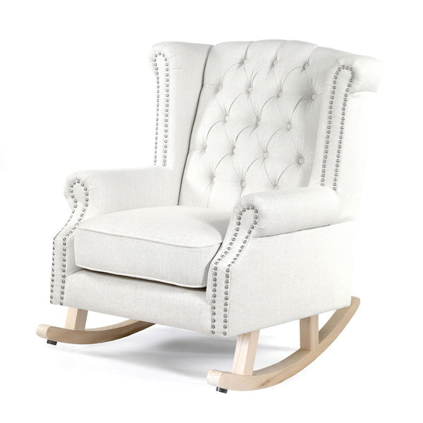 Royale Wingback Rocking Chair Linen White