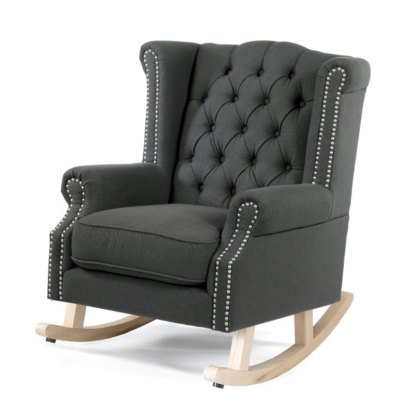 Royale Wingback Rocking Chair Charcoal